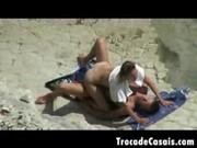 Заснял как пара ебется на пляже