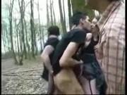 Выебали втроем и залили спермой в лесу